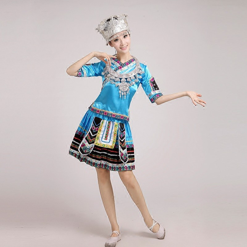 新苗族服装苗族舞蹈演出服云南少数民族壮族女装湘西瑶族舞蹈服饰