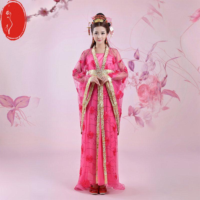 仙女拖尾唐朝古装服装古代汉服演出服装舞蹈长襦裙公主贵妃古典舞