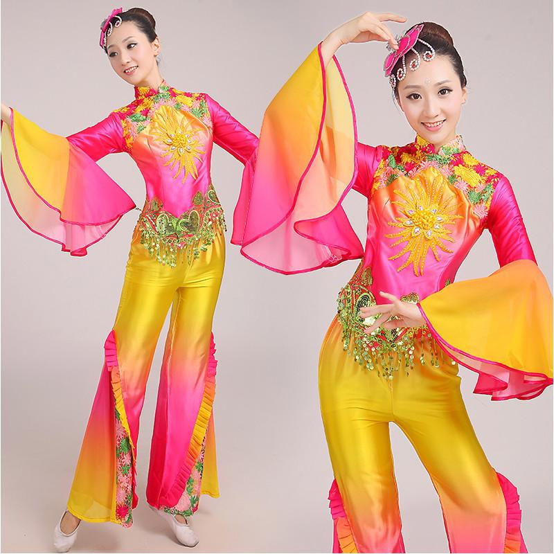 水袖舞蹈服2017新款扇子舞演出服民族广场舞古典舞表演服装成人女