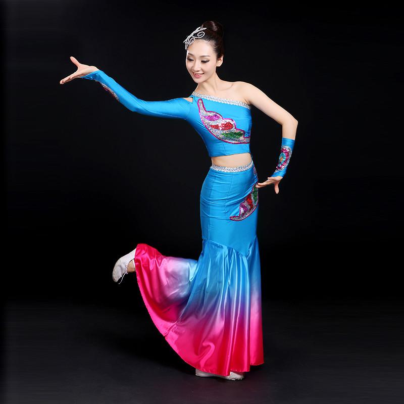 舞蹈_傣族舞蹈服装2017新款民族孔雀舞表演服修身少数民族演出服女成人