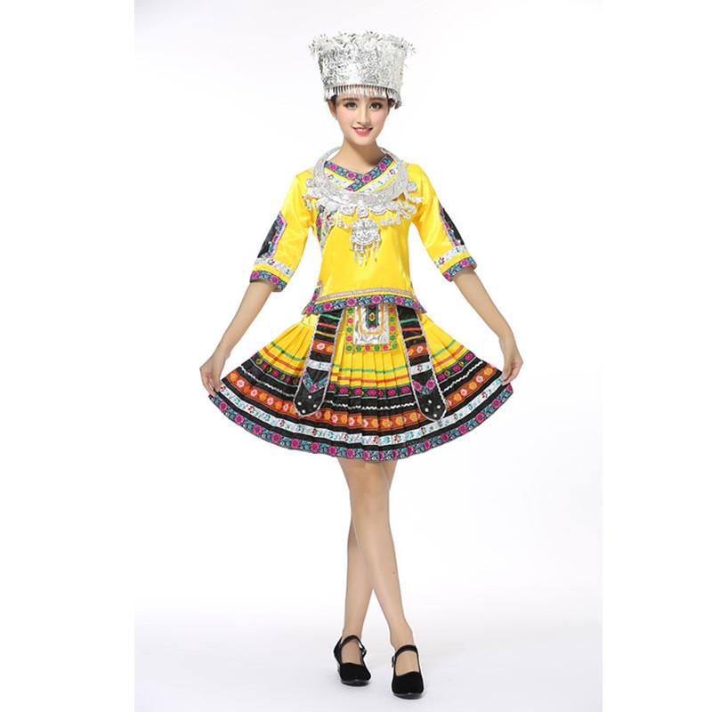 苗族服装苗族舞蹈演出服云南少数民族壮族女装湘西瑶族舞蹈服饰