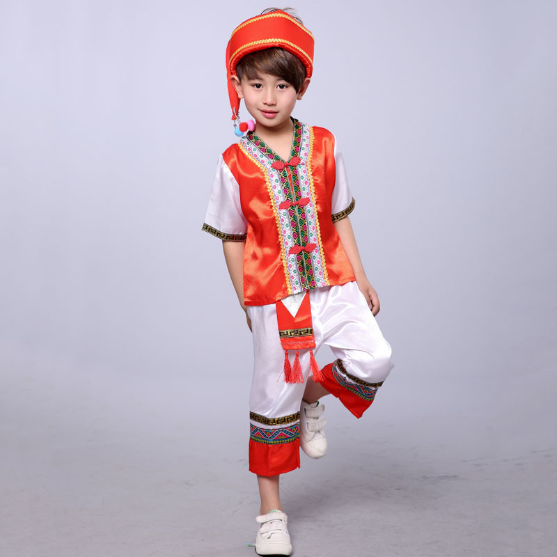 儿童苗族演出服少数民族表演服男童壮族傣族舞蹈服葫芦丝表演服装六一