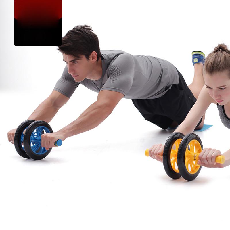 腹肌健身健腹轮滚轮轮双轮静音轮腹部塑身轮减瘦男士健身器械溶脂s瘦身反弹没图片