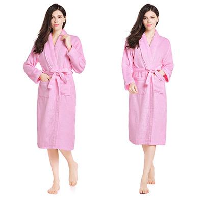 紫运蝶纯棉浴袍睡袍全棉情侣浴衣洗澡游泳浴袍----L码粉色常规....