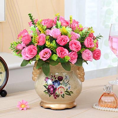 美思来登欧式客厅装饰摆件花艺摆放绢花插花玫瑰假花