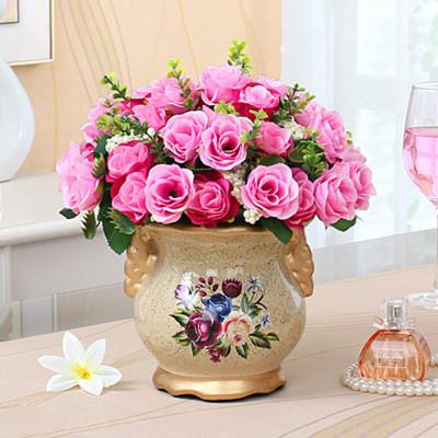 装饰摆件花艺摆放绢花插花玫瑰假花花卉仿真花套装----巴黎玫瑰/粉色