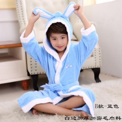 紫运蝶亲子装儿童纯棉浴袍毛巾料全棉厚款秋冬浴衣带帽--加厚加密白边蓝色XL身高135~150CM