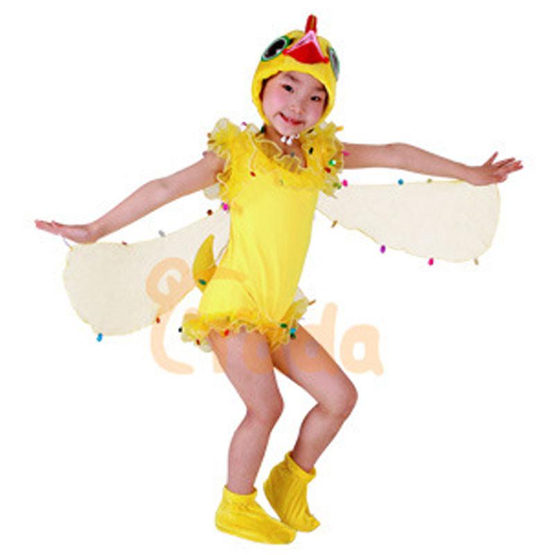 舞蹈表演衣服小鸟动物连体衣服服春秋装男套装儿女儿童黄色小鸡短款