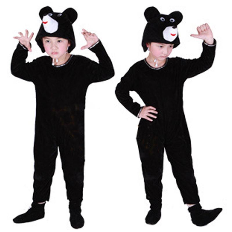 圣诞节宝宝表演服装 儿童演出服女 跳舞蹈衣小熊动物造型套装=