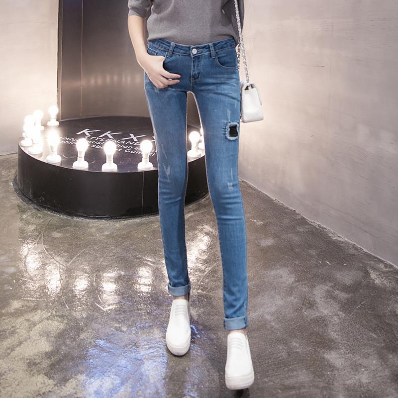 韩雪青青2016高腰牛仔裤女长裤小脚裤大码学生显瘦秋