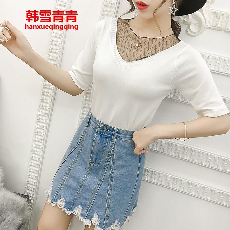 韩雪青青新款女装蕾丝假两件v领拼接短袖针织衫女套头冰丝半袖t恤