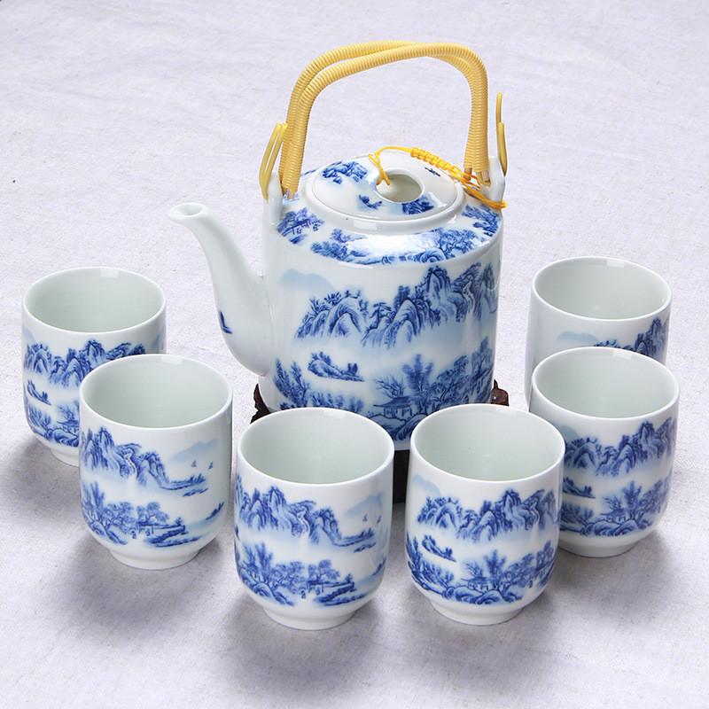 7头青花瓷提梁壶茶具 陶瓷凉水壶水杯套装 中式家居日图片