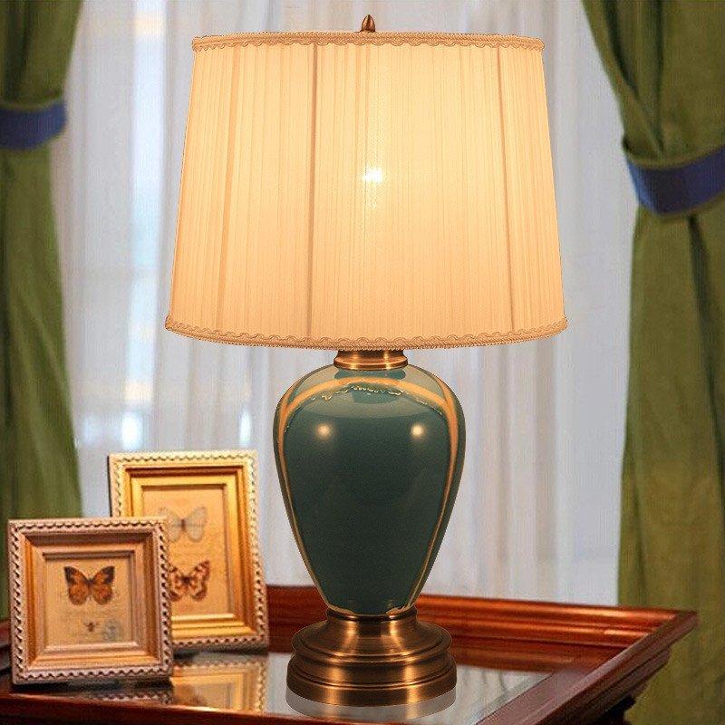 陶瓷台灯 卧室床头灯时尚简约中式台灯美式灯罩现代创意婚庆台灯