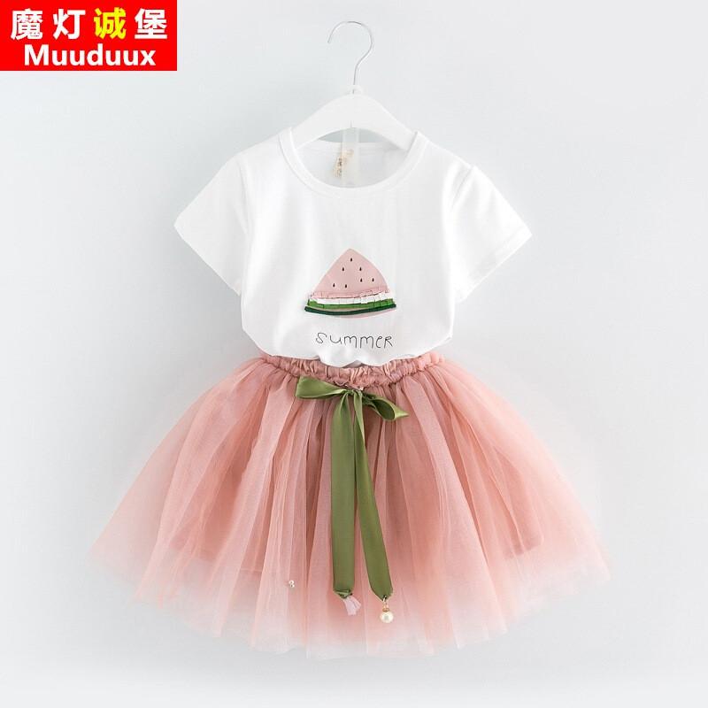 2017新款夏季女童短袖公主连衣裙套裙两件套aa5387103t
