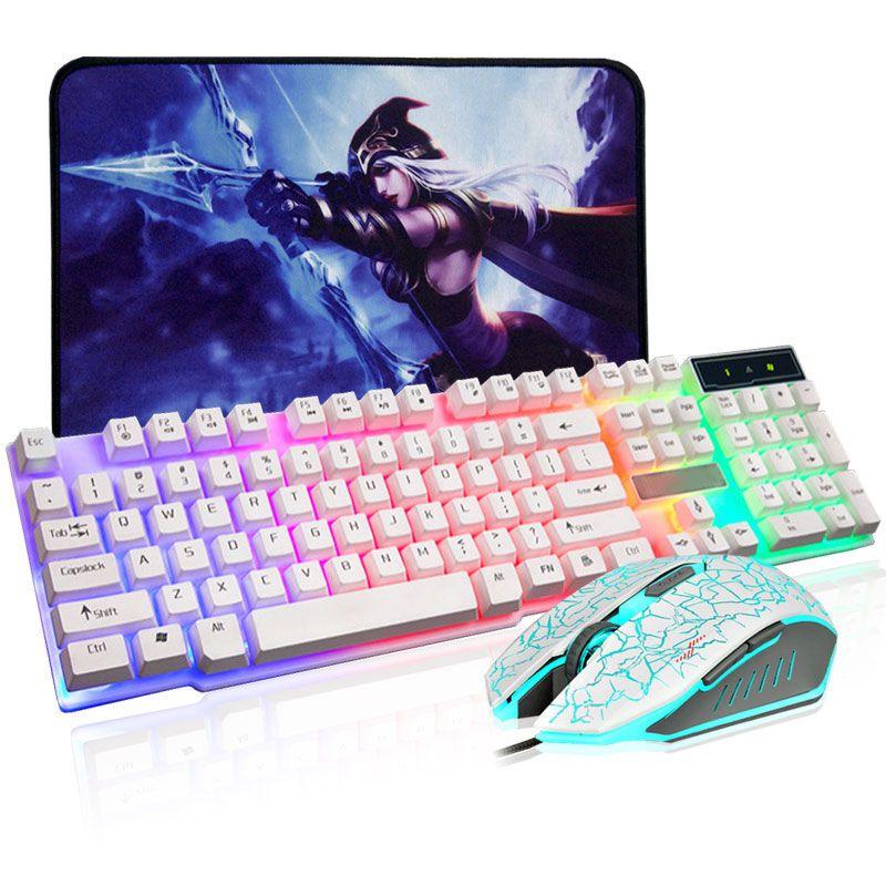 台式电脑笔记本有线键盘 牧马人手感发光鼠标 gx50白色 七彩白鼠标
