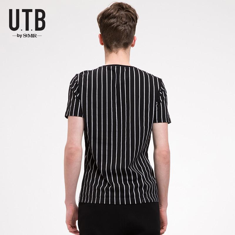 森马utb短袖t恤男士夏季圆领体恤短袖男装t恤黑白条纹图片