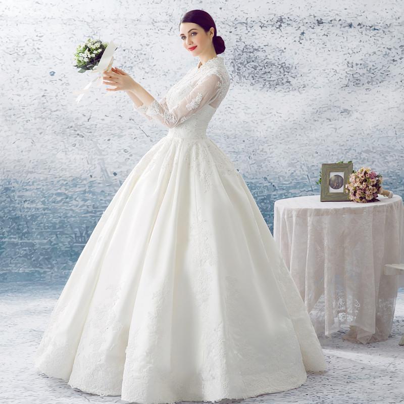 婚纱礼服2016年新款立领蓬蓬裙婚纱齐地宫廷白色缎面绑带款婚纱定制