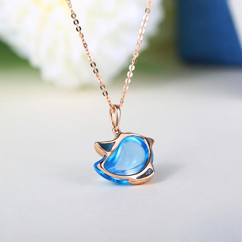 ideal爱迪尔珠宝 18k金镶钻石托帕石吊坠彩色宝石项链