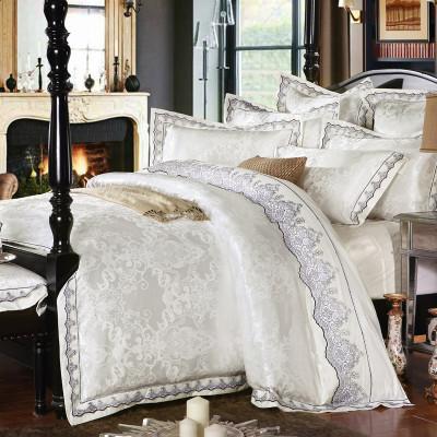 宝水星家纺四件套欧式提花贡缎四件套100%纯棉全棉