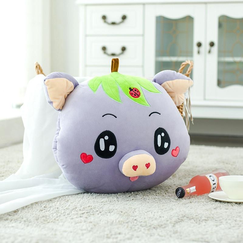 笑萌 可爱小猪猪头空调毯两用抱枕被子珊瑚绒毯午睡枕