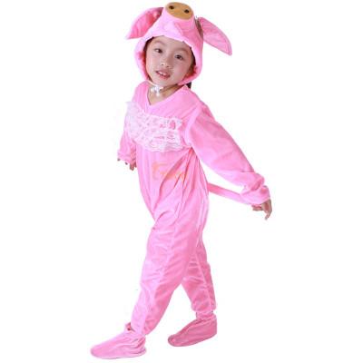 卡其色三只小猪儿童动物表演服 儿童卡其色演出服装舞蹈服装 动物服装