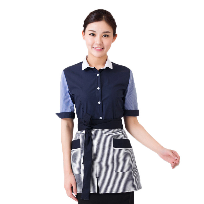 酒店服务员工作服短袖 咖啡店西餐厅饭店工衣 宾馆前台工作服