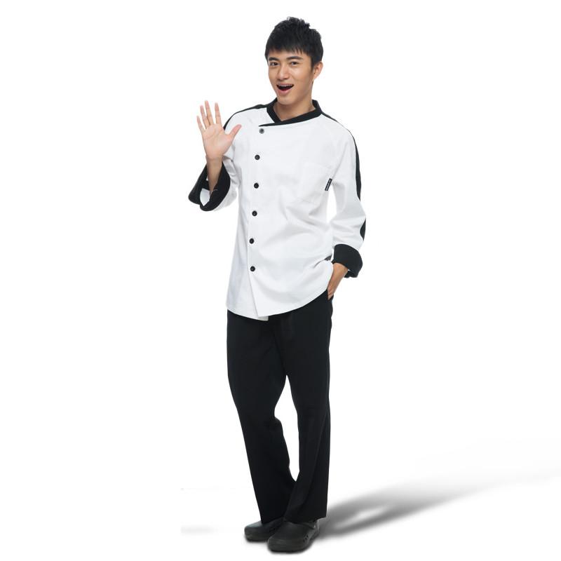 简约时尚厨师服长袖舒适秋冬季厨师工作服耐穿厨房厨师服装厨师衣服