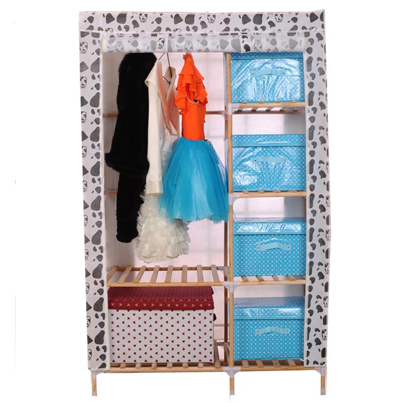 实木简易衣柜折叠组装木质衣柜无纺布衣柜宜家