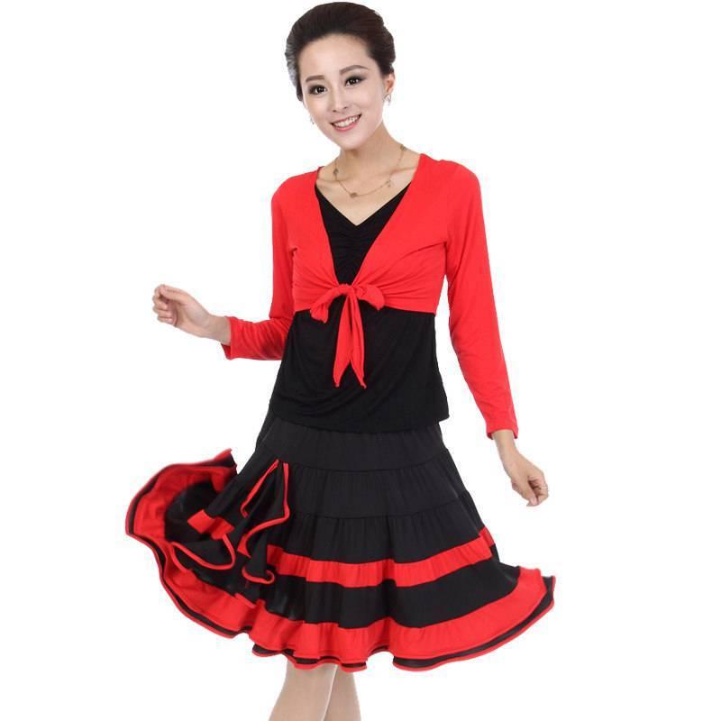 中老年广场舞服装 秋冬女款舞蹈演出服套装 假两件吉特巴裙舞蹈练功图片