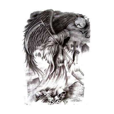 静闲居 纹身贴纸男欧美骷髅坟墓蝙蝠镰刀死神大图花臂