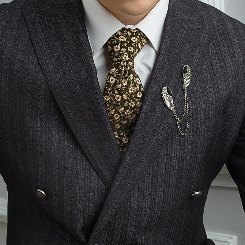 2016新款结婚西装男士戗驳领修身灰色竖条纹三粒双排扣西服男套装新郎