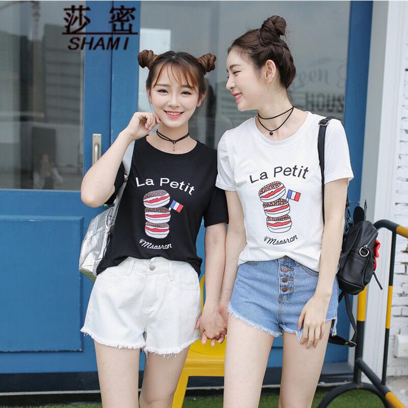 莎密2016夏装印花宽松大码短袖t恤上衣女闺蜜学生休闲