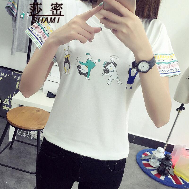 莎密2016夏新款卡通印花宽松短袖t恤女韩版学生闺蜜装