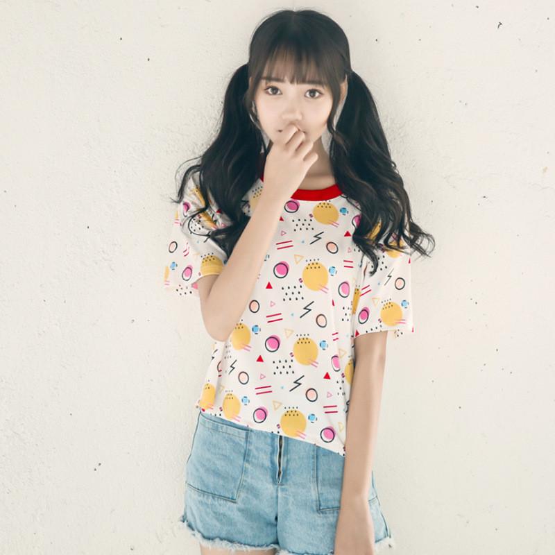 夏季新款韩版可爱软妹印花百搭短袖t恤女学生撞色上衣服