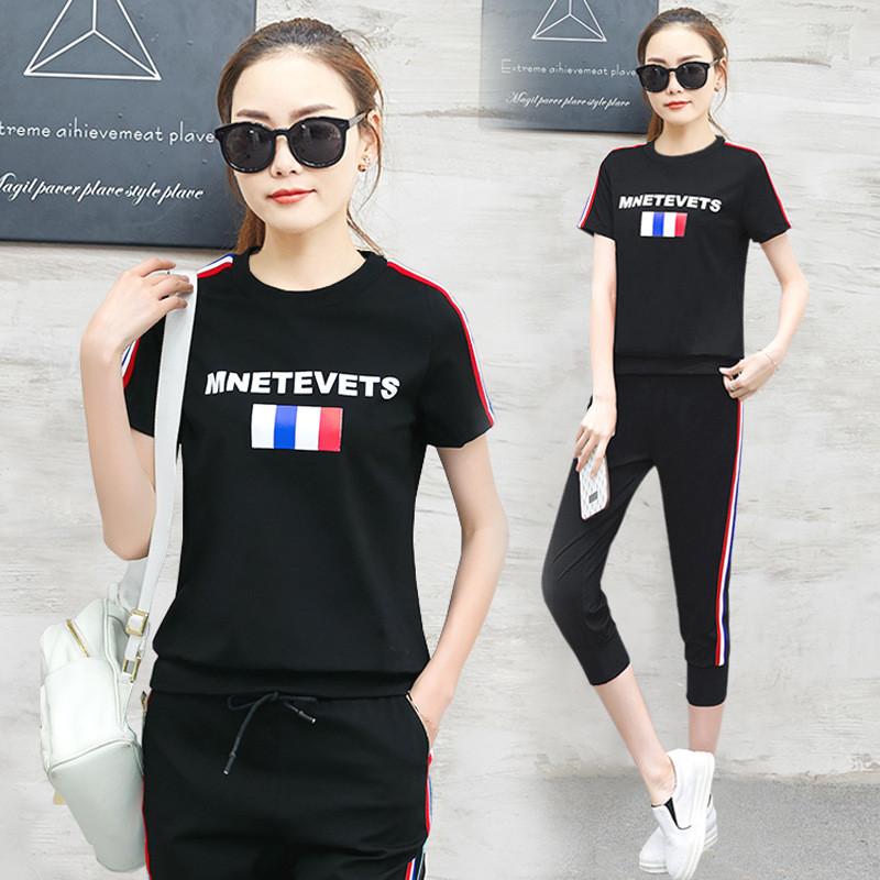 2017夏装新款韩版休闲运动套装女装短袖七分裤跑步服显瘦两件套潮