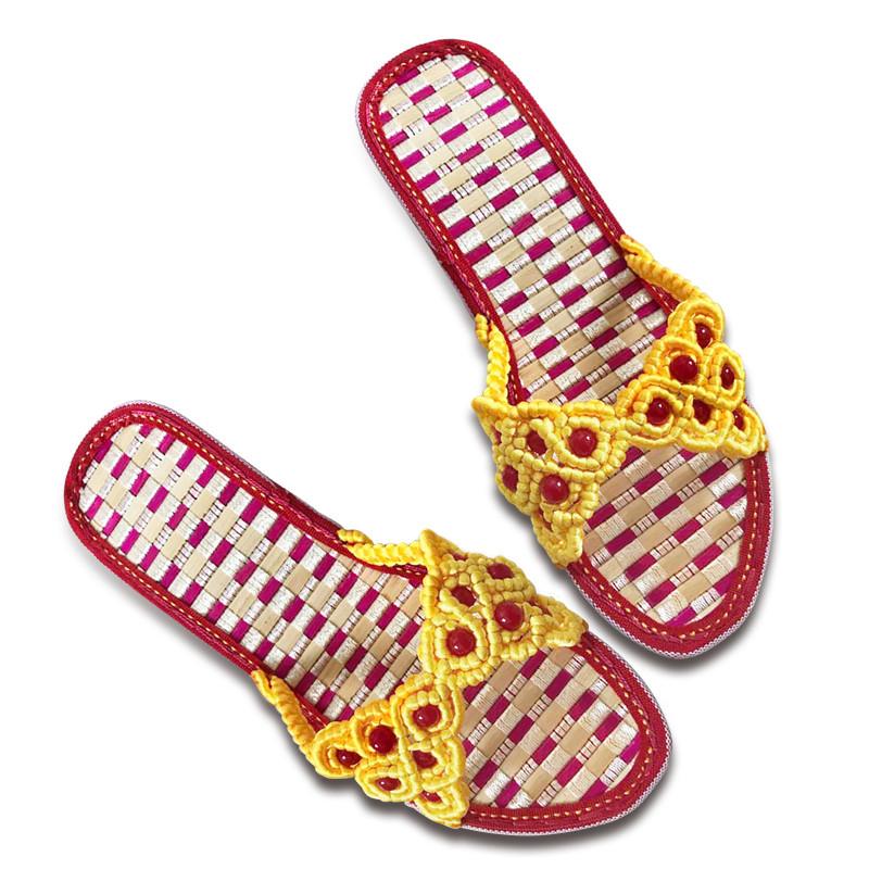 傲蒙 手工编织拖鞋 中国结5号线 健康舒适养脚 孺子牛竹凉鞋底 黄色