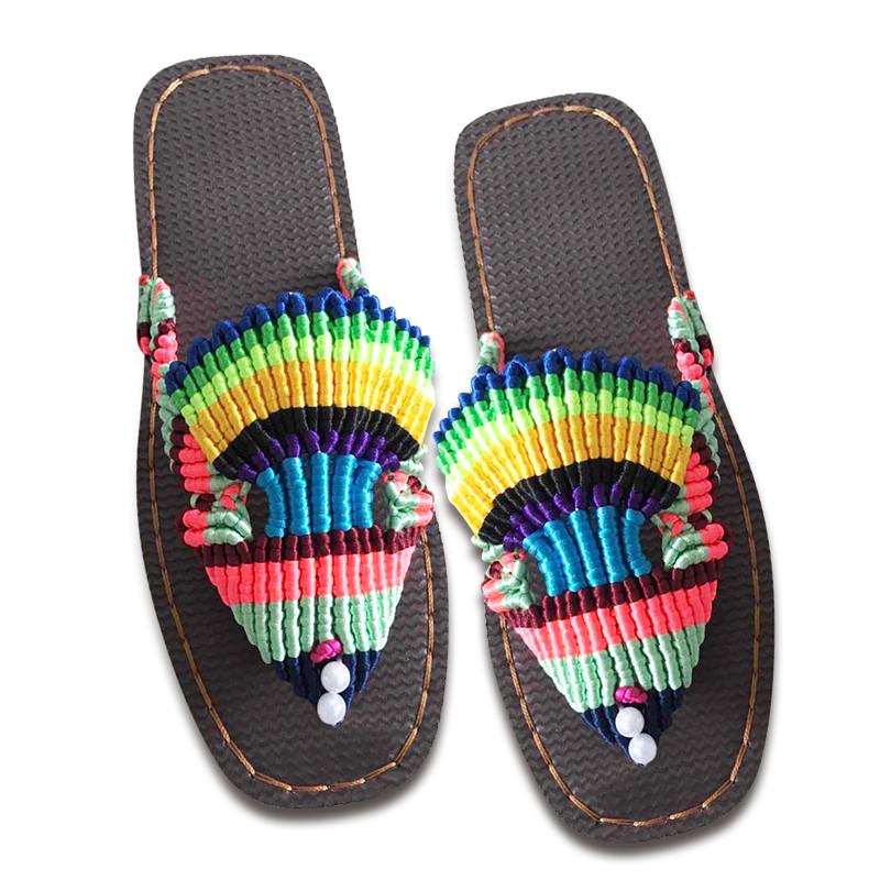 傲蒙 手工编织拖鞋 中国结5号线 编织 吸汗 结实耐穿