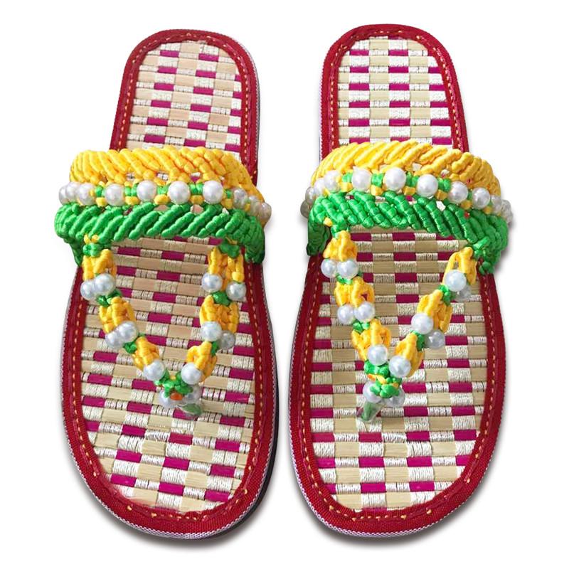 手工编织拖鞋 中国结5号线 健康舒适养脚竹子做的鞋底 孺子牛竹凉鞋底