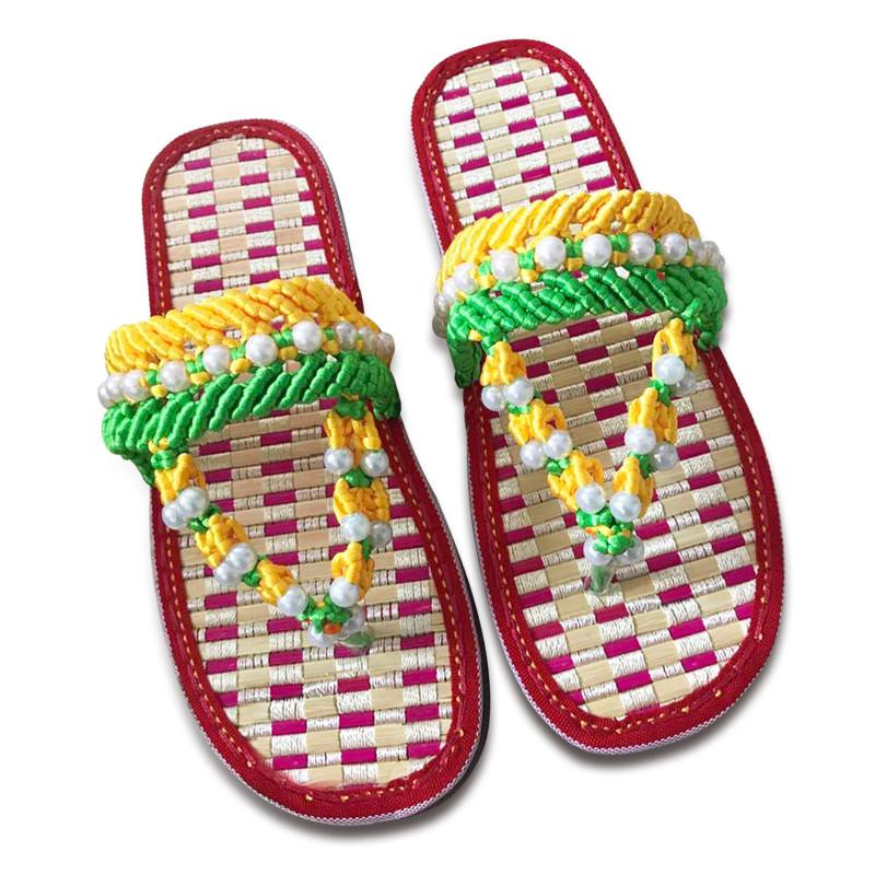 傲蒙 手工编织拖鞋 中国结5号线 健康舒适养脚竹子做的鞋底 孺子牛竹