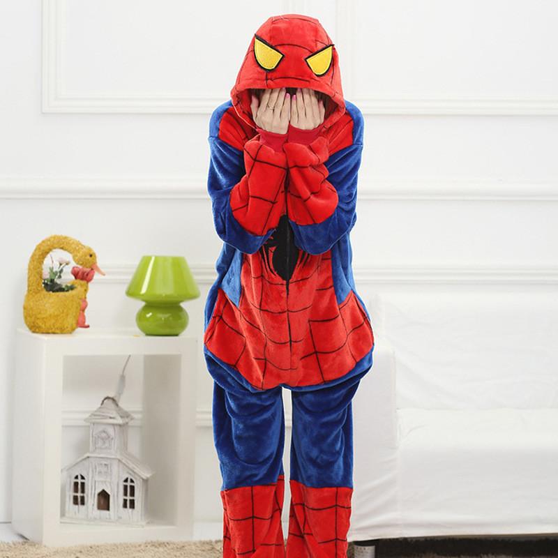 蜘蛛侠法兰绒居家卡通动物连体睡衣如厕可爱长袖男女士情侣睡衣