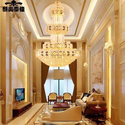 新奥泰佳金色复式楼客厅大吊灯楼中楼楼梯长吊灯酒店别墅中空工程灯
