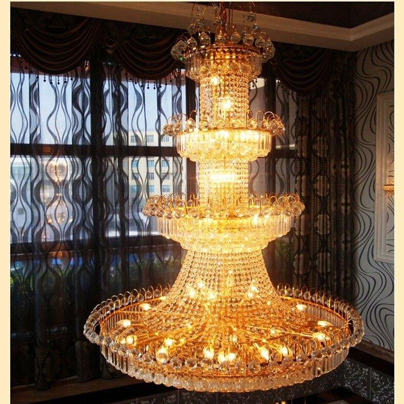 新奥泰佳复式楼客厅水晶欧式大吊灯别墅楼梯灯楼中楼长吊灯水晶灯酒店