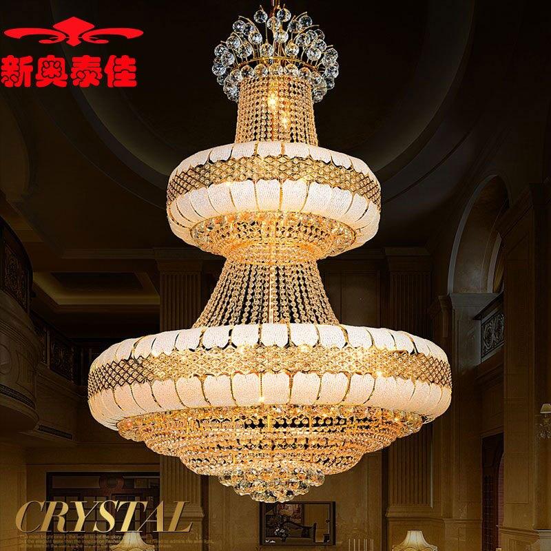 楼别墅楼中楼金色水晶灯吊灯大厅欧式客厅水晶吊灯具