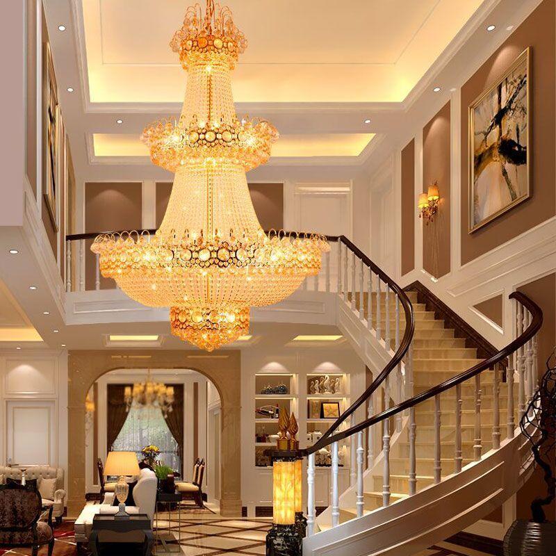 新奥泰佳复式楼梯水晶灯 别墅客厅灯大吊灯 酒店工程水晶灯圆形大厅吊