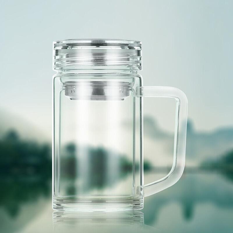 吟秀 尤萨 男女士创意时尚商务水杯子 玻璃杯 带盖双层便携泡茶杯