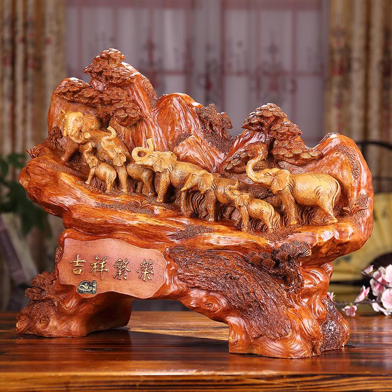 仿木雕家居装饰品摆设风水吉祥物