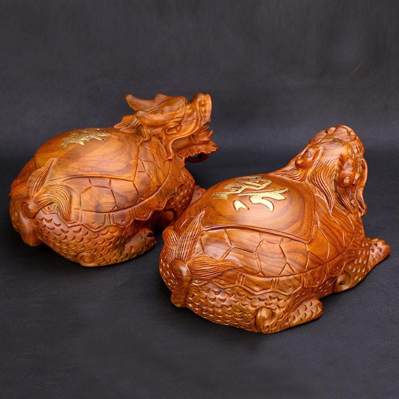 吟秀 黄花 梨木雕龙龟 摆件工艺品 家居装饰