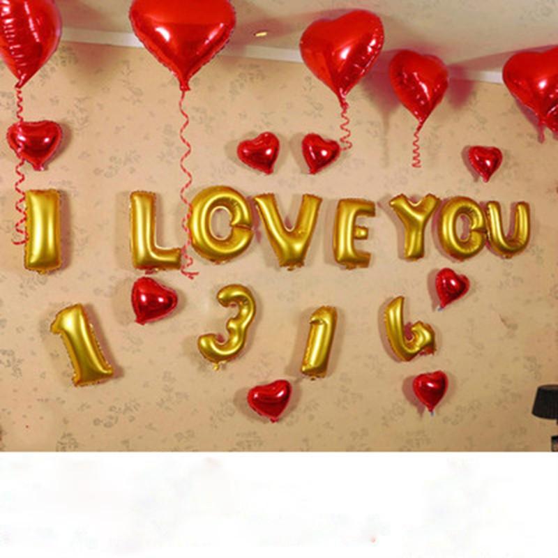 吟秀 生日派对字母铝膜气球 婚房婚礼布置七夕装饰结婚用品婚庆气球
