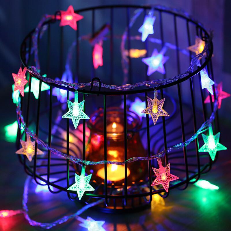 led星星灯 圣诞装饰婚庆小彩灯电池灯 彩灯闪灯串灯节日