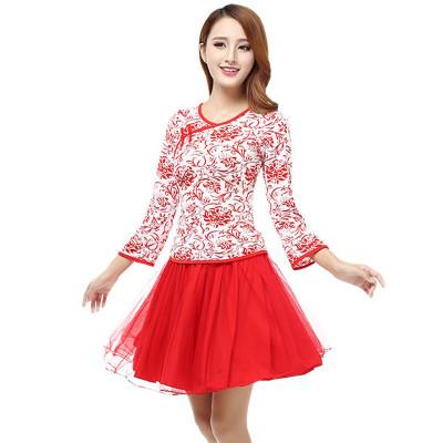 舒适广场舞服装套装秋季青花瓷中国风服装中老年演出长袖上衣舞蹈服